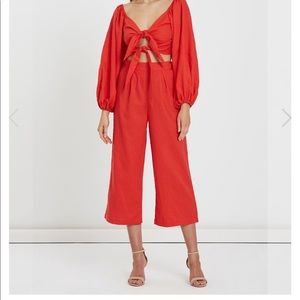 Charlie Holiday Pants - Charlie Holiday Elle Linen Pant Red